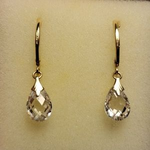 Jewelry - GENUINE 14K & DQ CZ EARRINGS